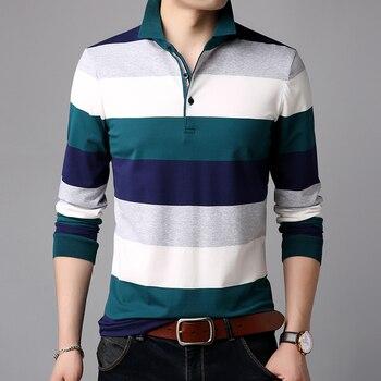 2019 nouvelles marques de mode concepteur Polo chemise hommes rayé manches longues ajustement mercerisé coton Poloshirt décontracté hommes vêtements