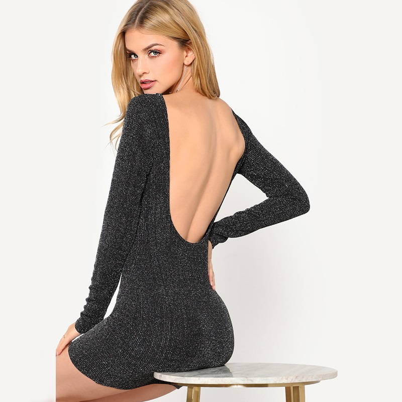 Black Low Back Ribbed Glitter Bodycon Dress