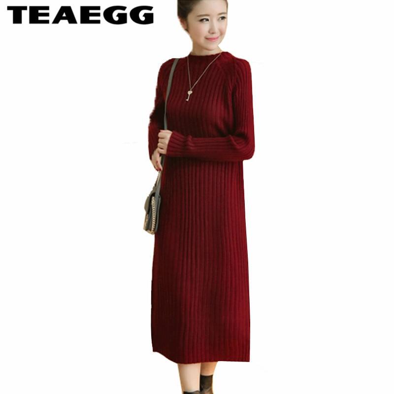 TEAEGG Meduim Long Women Dresses Large Sizes Robe Femme Autumn Winter Wine Red Sweater Dress Women Vestidos Verano 2017 AL39