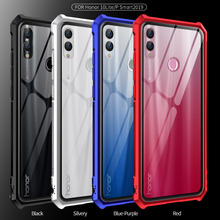 For Huawei P Smart 2019 Bumper Case Aluminum Metal Frame with Clear Tempered Glass Back Cover for Honor 10 Lite