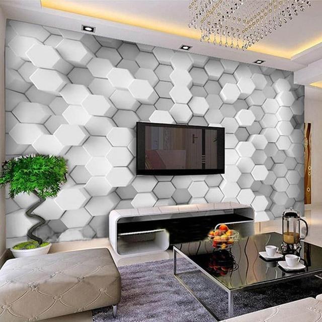Beibehang Fertigen Jede Größe Foto Tapete Geometrische Muster Sofa 3d Wohnzimmer  TV Wand Dekoration Tapete Papel