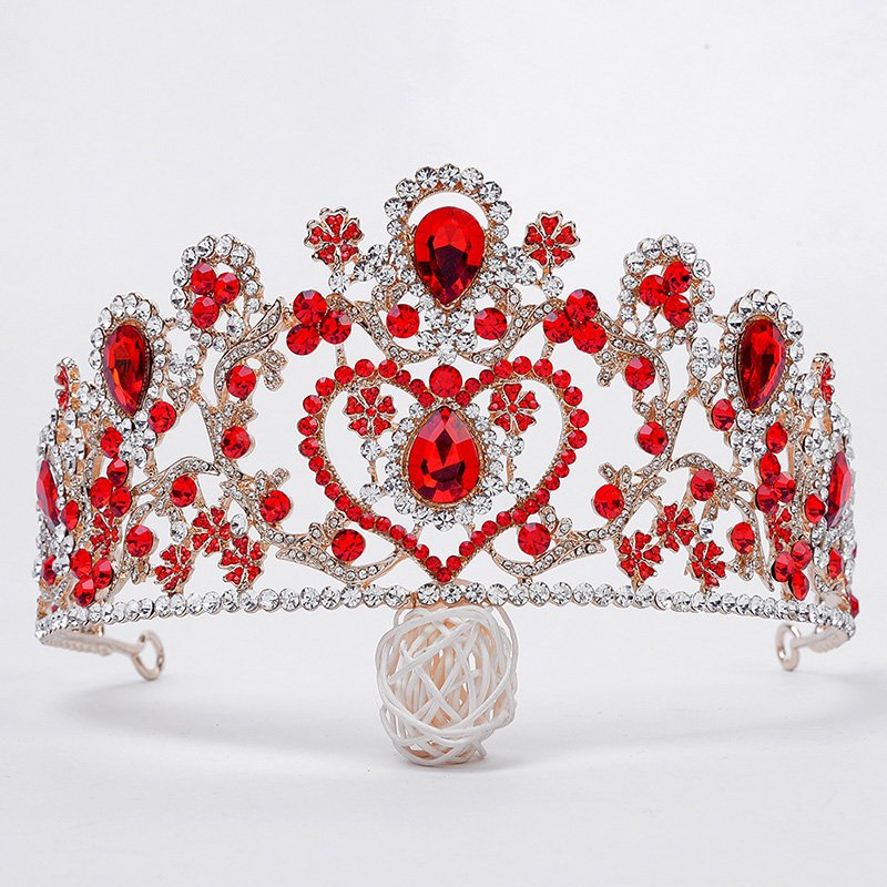 Wedding Gold Crown Tiara Hair Jewelry Accessories for Hair Big Crystal Rhinestone Tiara for Women Girls Bride Head Jewelry Piece 03 red gold bride wedding hair tiaras ancient chinese empress hat bride hair piece