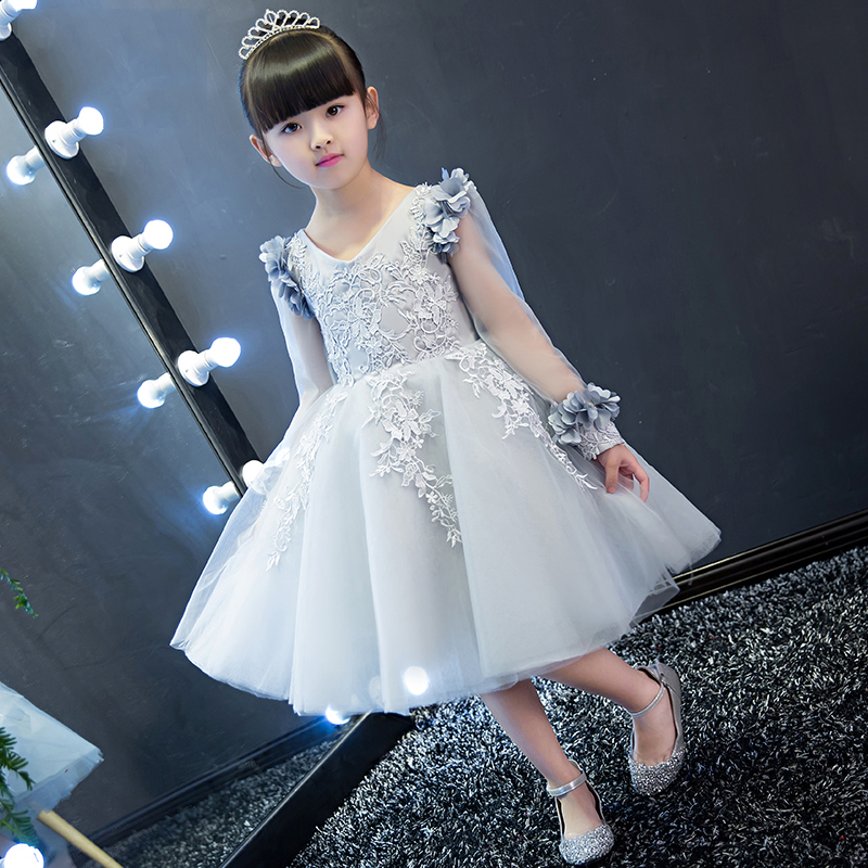 2 Colors Lace Mesh Prom Dresses V Neck Full Sleeves Girls Wedding Dresses Summer 2017 New Knee-Length Kids Girls Clothes P22