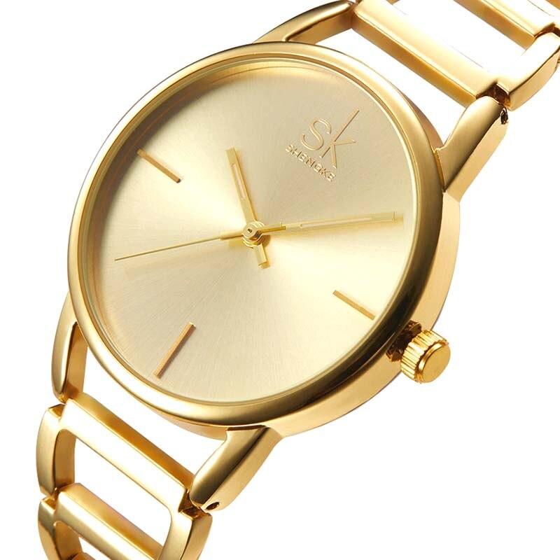Shengke Women Watches Ultrathin Stainless Steel Quartz Wrist watch Elegant Gold Watch montre Femme clock Relogio Feminino
