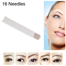Famous Brand CHUSE Tattoo Needle A16 Permanent Makeup Needles Eyebrow Microblading Manual Blades 16-Pins Curved 50Pcs/Box