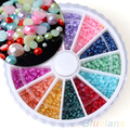 Hot12 Colores DIY Nail Art Media Perlas Redondas Rueda Decoración Rhinestone 2mm 02 KM 2U8A 7CVF