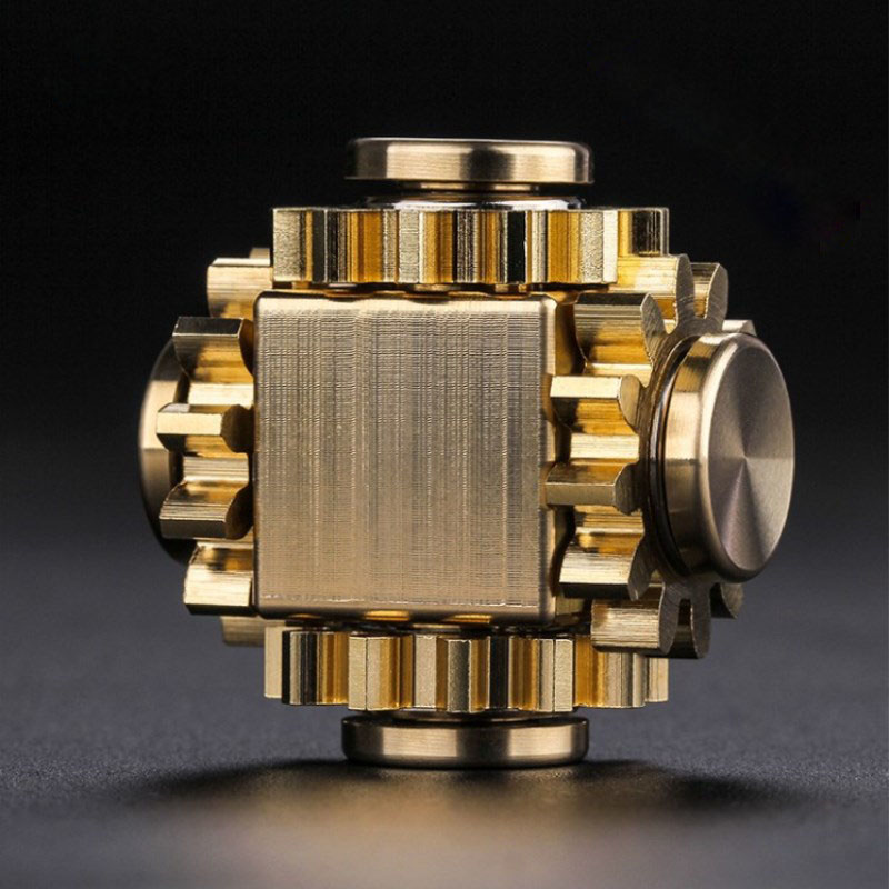 Fingertip Gyro Gear Linkage Cube Pure Copper Finger Mechanical Gyro Adult Decompression Toy Gift Craftsman Feelings