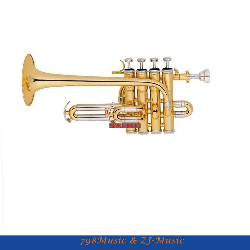 Nové stříbrné zlato Piccolo Trumpet 4 Píst Bb / A Key s pouzdrem