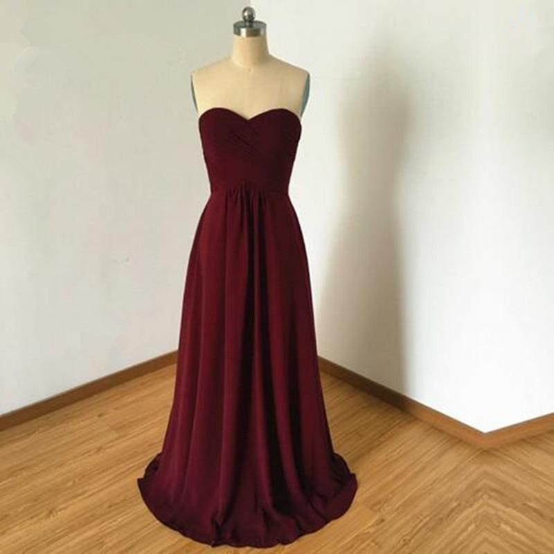 2016 Sweetheart Burgundy Chiffon Long Bridesmaid Dress A