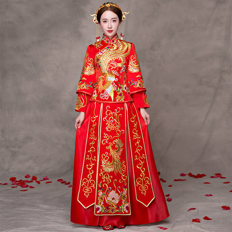 Traditional Chinese Wedding Gown Dress Women Cheongsam Embroidery