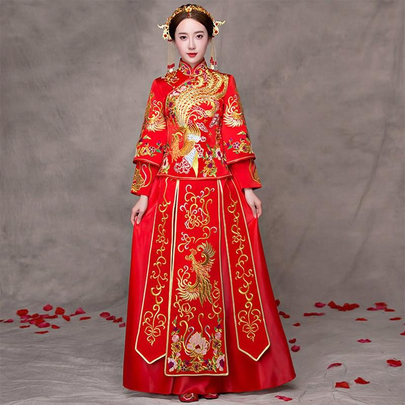 Traditional Chinese Wedding Gown Dress Women Cheongsam ...