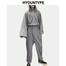 2006ba4567b0 Hooded Jumpsuit Autumn Mens Hip Hop Loose Rompers Cargo Wide Long Sleeve  and Elastic Waist Overalls New Streetwear Suits Romper