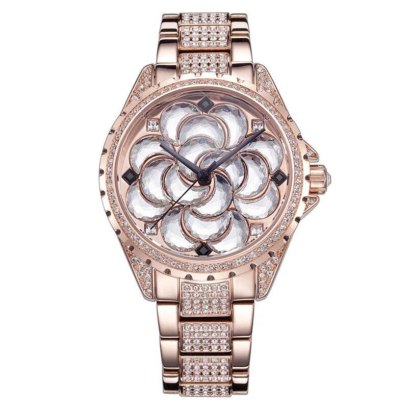 New Floral Women Romantic Full Steel Watches Luxury Crystals Dress Wristwatch Vintage Japan Quartz Analog Relojes Montre Femme stylish cami full floral women s bodycon dress