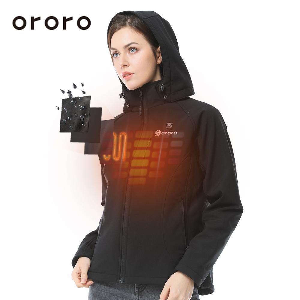 Womens Heated Clothing >> Ororo Womens Heated Jacket Basic Zipper Hoodies Waterproof Thermal