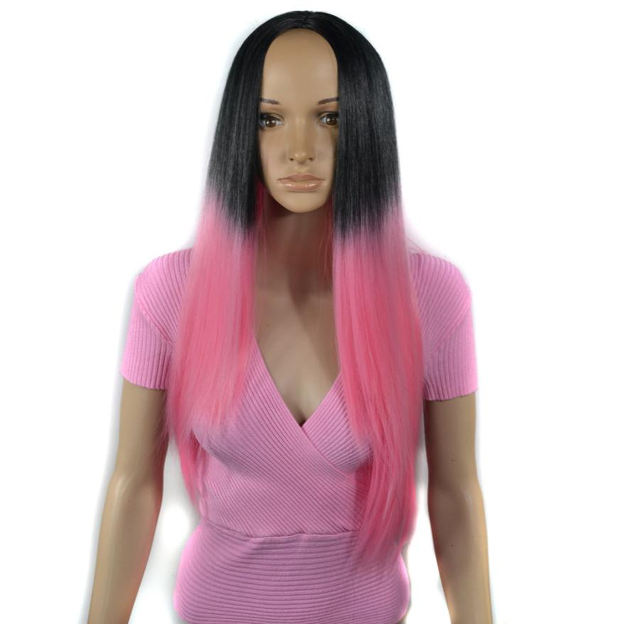 Womens Fashion Lady Black Gradient Pink Long Straight Hair Cosplay Party Wig Full Wig 0629