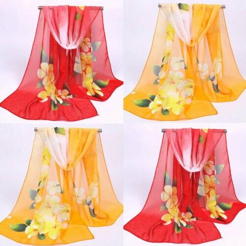 Fashion Hot   Scarves   Womens Long Osmanthus Floral Printed   Scarf     Wrap   Ladies Shawl Chiffon Summer Beach Mesh   Scarves