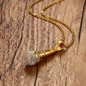 Image 5 - Modyle Gold color Stainless Steel CZ Stone Hip Hop Microphone Necklace & Pendant for Men/Women