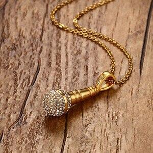 Image 5 - Modyle collier et pendentif Microphone style Hip Hop en acier inoxydable, couleur or, en pierres CZ, couleur or, pour hommes/femmes