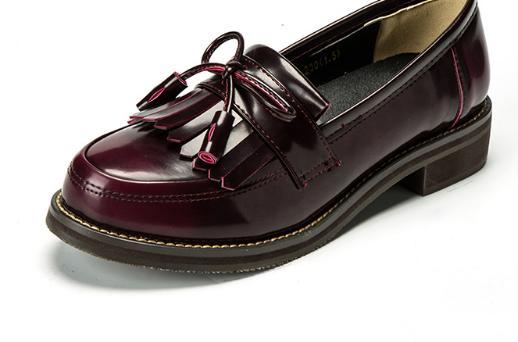 Casual Vin Automne Femmes Rouge Rond Red Glissement Oxford Vintage Sur Arc Baimier Pour Plat Chaussures Bout Rétro 4FqFUv