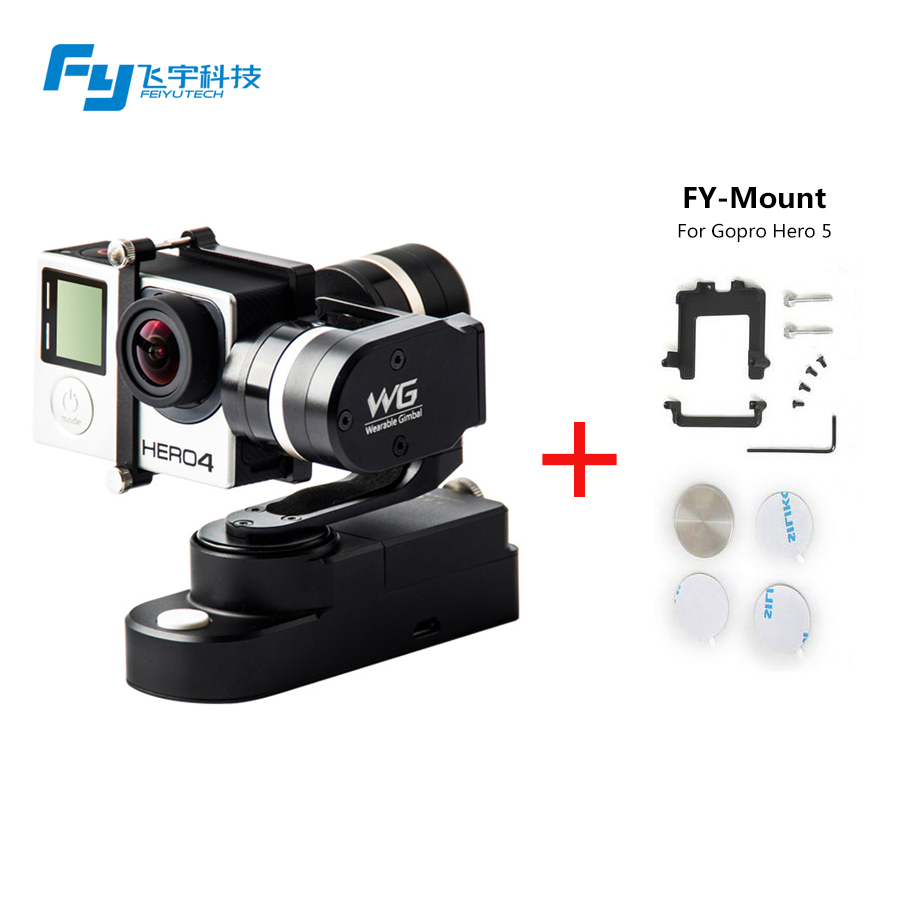 Feiyu FY WG 3 axle Wearable Gimbal Brushless Steady Stabilizer for Gopro Hero 5 3 3+ 4 LCD Extend Xiaoyi Sj4000 AEE Camera feiyu tech fy wg 3 axis wearable camera brushless gimbal stabilizer for gopro hero 3 3 4 lcd touch bacpac
