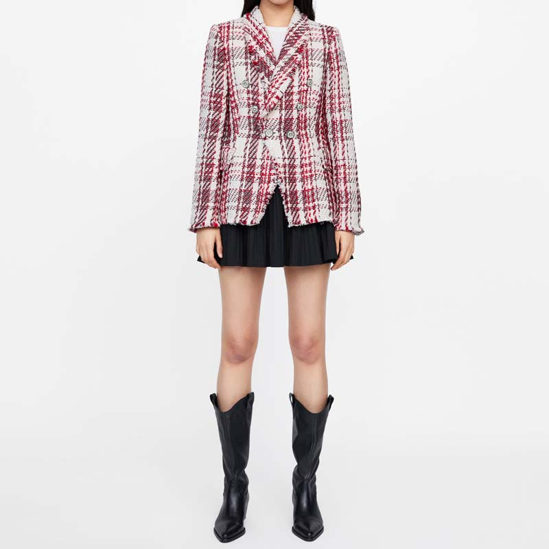 Vintage Tweed Plaid Blazer Women 2019 Spring Blend Jacket Coat Mujer Fashion Office Ladies Female Blazer Coat Autumn AO872
