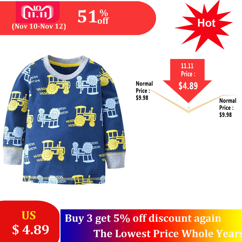 SAILEROAD Cartoon Vehicle Tractors Children Boy's Long Sleeve T Shirt Spring Cotton Baby Kid's Tees T-Shirts Child Boys Clothing new hot sale 2016 korean style boy autumn and spring baby boy short sleeve t shirt children fashion tees t shirt ages