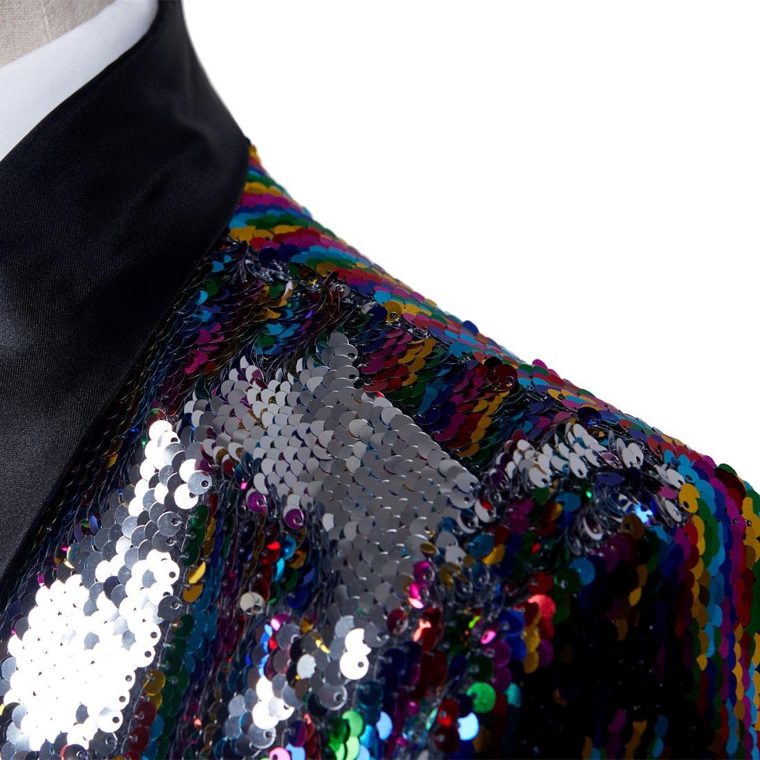 PYJTRL Mâle Mode Châle Revers Double face Coloré Paillettes Longue Costumes Veste Blazer Masculino Hommes Slim Fit DJ Chanteur costume - 3