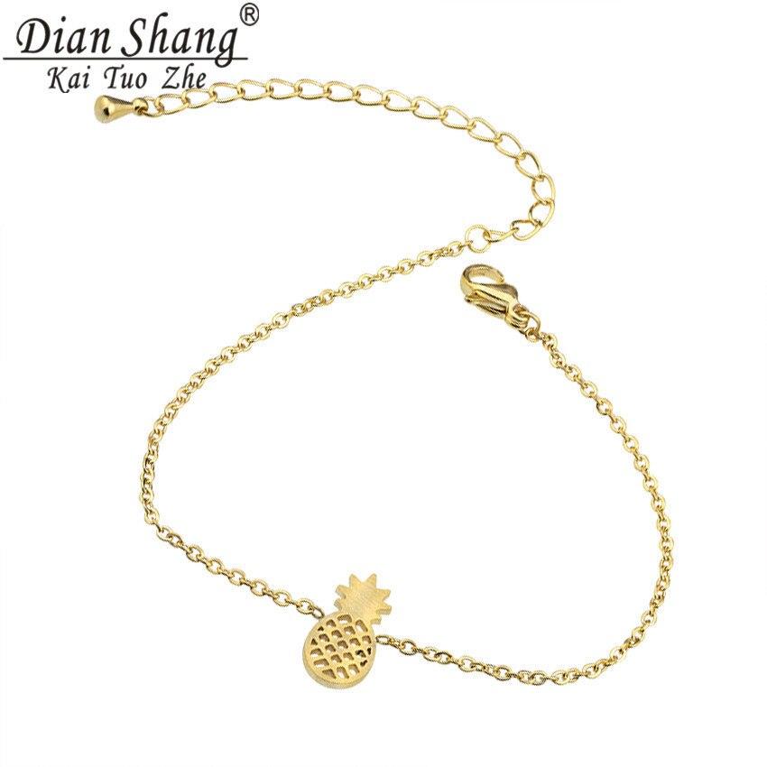 DIANSHANGKAITUOZHE 1Pcs Tiny Pineapple Charm Bracelet Women Gold Plated Modern Stainless Steel Chain Bangle Bracelet Girls Gift