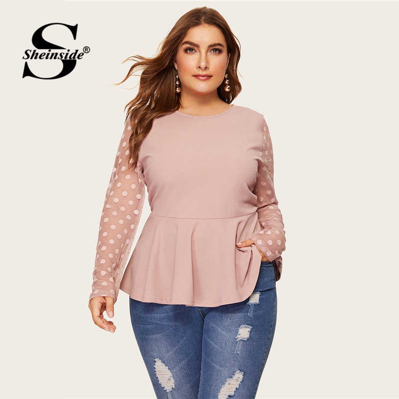 Sheinside Plus Size Elegant Polka Dot Mesh Sleeve Blouse Women 2019 Spring Ruffle Hem Blouses Ladies Solid Keyhole Back Top