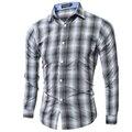 Camisa de los hombres de Lujo de la Marca 2017 Hombres de Manga Larga Camisas Casuales Para Hombre Classic Plaid Pocket Slim Fit Camisas de Vestir Para Hombre de Hawai 2XL MVF