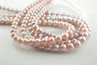 1strand High Quality 8~9mm Pink purple color Round Pearl Loose Beads DIY Jewelry making