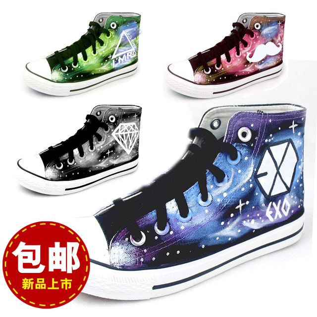 Exo Hand Painted Shoes Graffiti Shoes Canvas Shoes Harajuku Colored Drawing Luminous Shoes Size