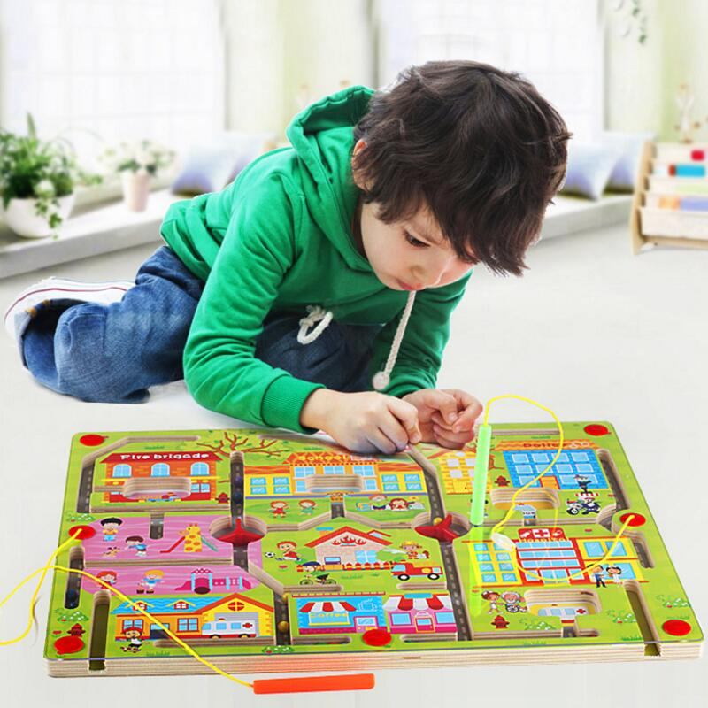 New Arrival Children Wooden Puzzle Magnet Beads Slot Maze Board Game Educational Toys Learning Intelligence Game For Kids