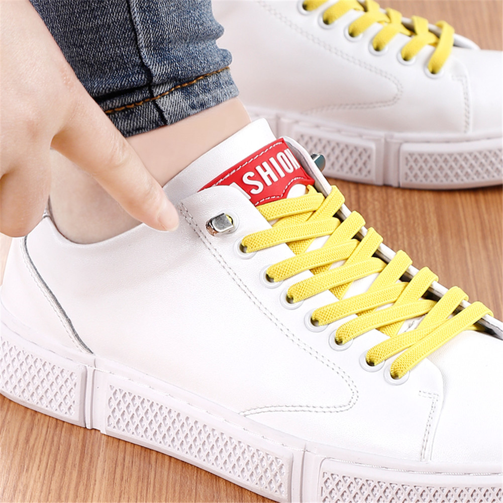 1 Pair Casual No Tie Shoelaces For Sneakers Stretch Elastic Lazy No Tie Flat Shoe Laces 100cm Candy Color Sports Outdoor Strings