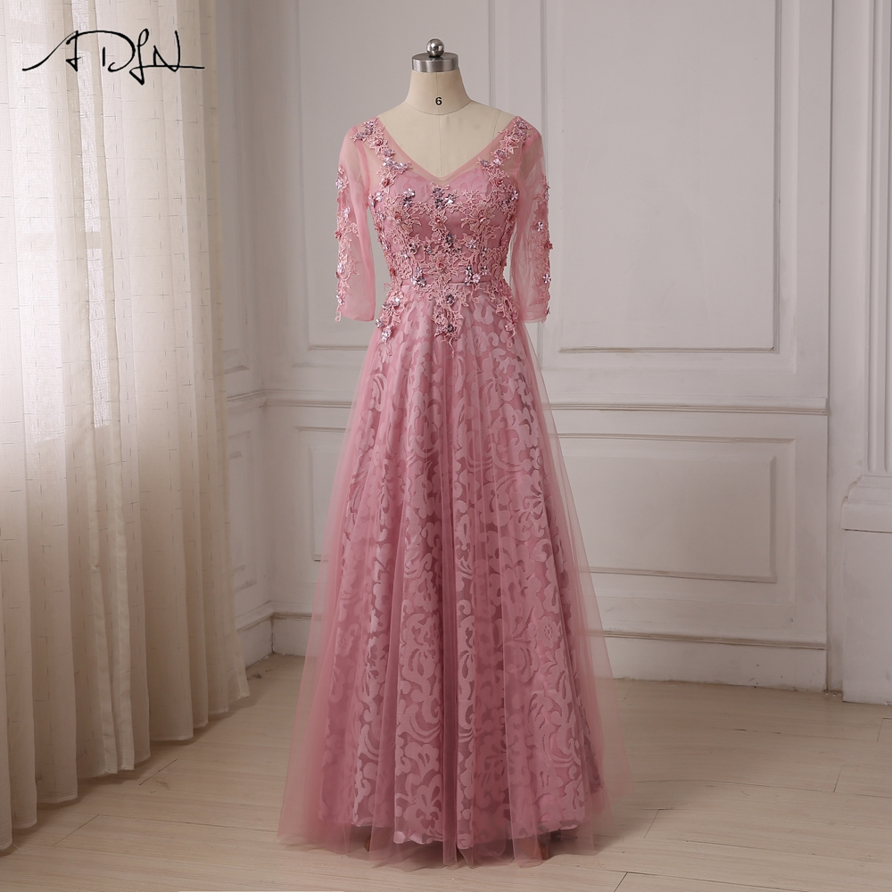 ADLN High Quality Custom Long Sleeves   Evening     Dresses   Applique Beaded A-line   Evening   Party Gowns Floor Length Formal Gowns
