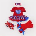 Baby Dress Little Girl 2016 Summer Cotton Clothing Set Red Romper American Flag Kids Outfits Suit Ruffles Dress Newborn Clothes