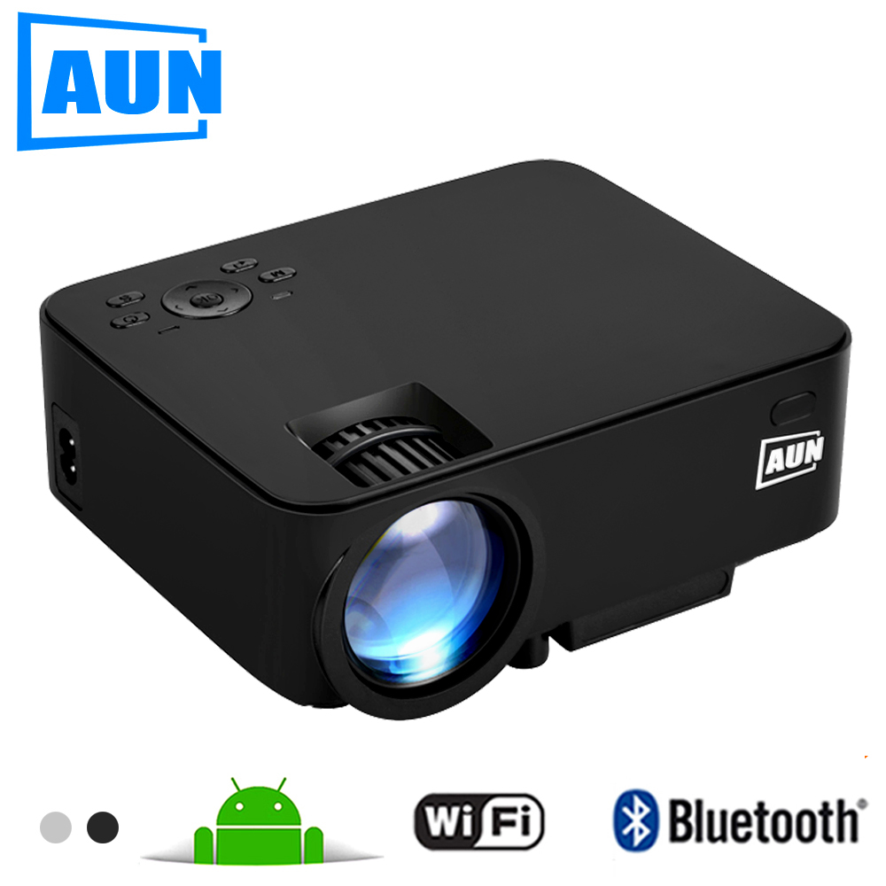 AUN Projector 1500 Lumens MINI Beamer (Optional Android TV BOX / LED Android Projector Support KODI AC3) AM200 Series