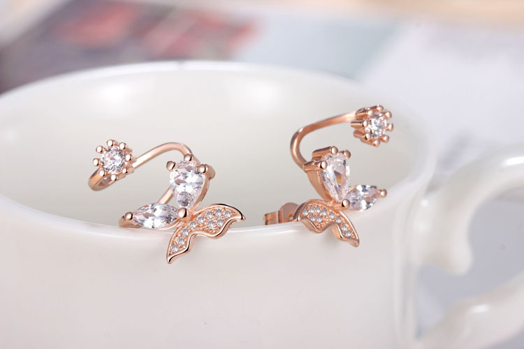 New arrival hot sell fashion butterfly 925 sterling silver ladies stud earrings jewelry gift wholesale anti allergic women girl in Stud Earrings from Jewelry Accessories