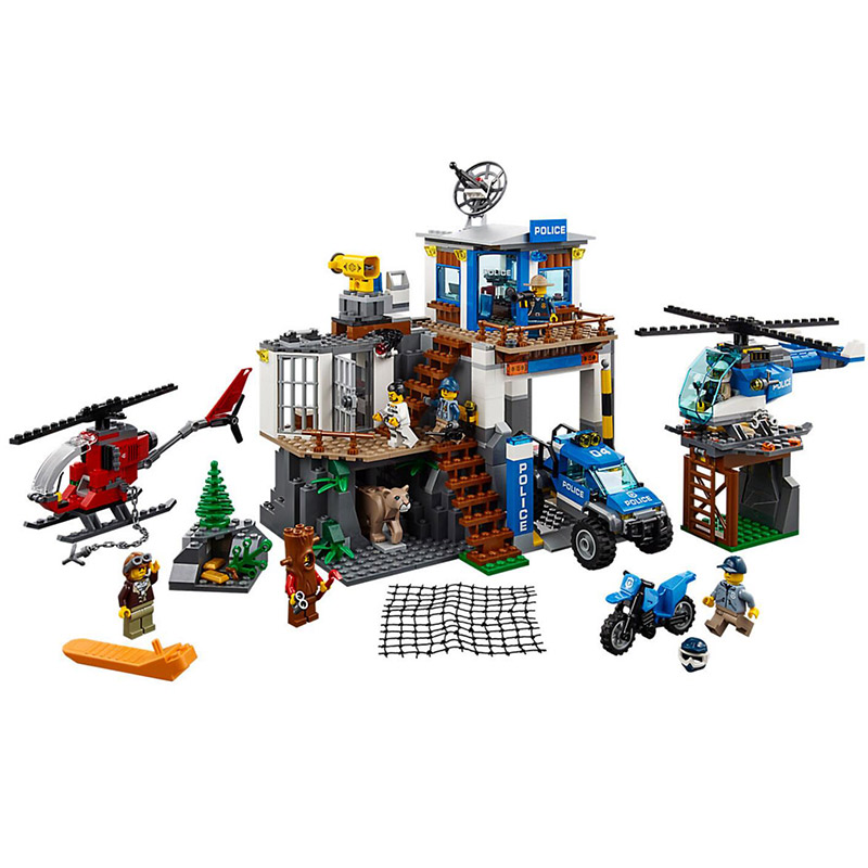 Bela 10865 City Police Officers Mountain Police Headquarter Building Block Brick Toys Compatible With Legoings City 60174 haogaole 11305 11308 military series custom police gatlin guns rpg sandbag mountain army weapon brick city police
