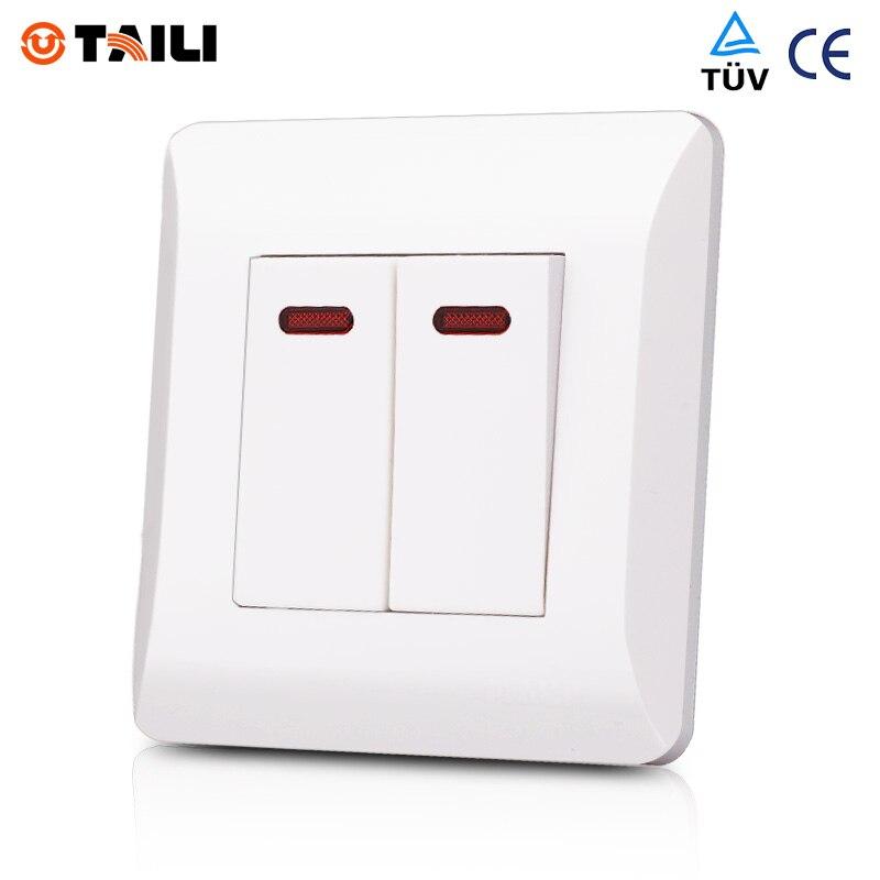 2 Gang 1 Way Wall Switch Panel interrupteur Light Switch ...