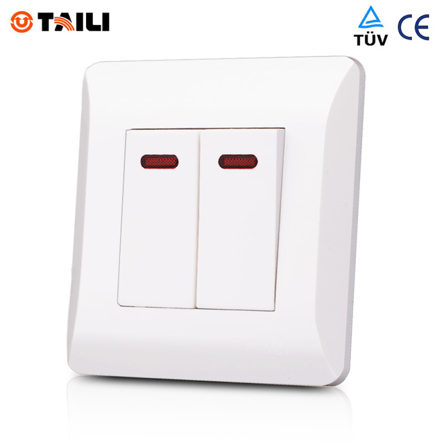 2 Gang 1 Way Wall Switch Panel Interrupteur Light Switch