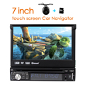"Single 1 Din 7"" Universal Touch screen Car DVD Player With GPS Navi Autoradio Stereo Car Audio TV Bluetooth USB SD +FREE MAPS"