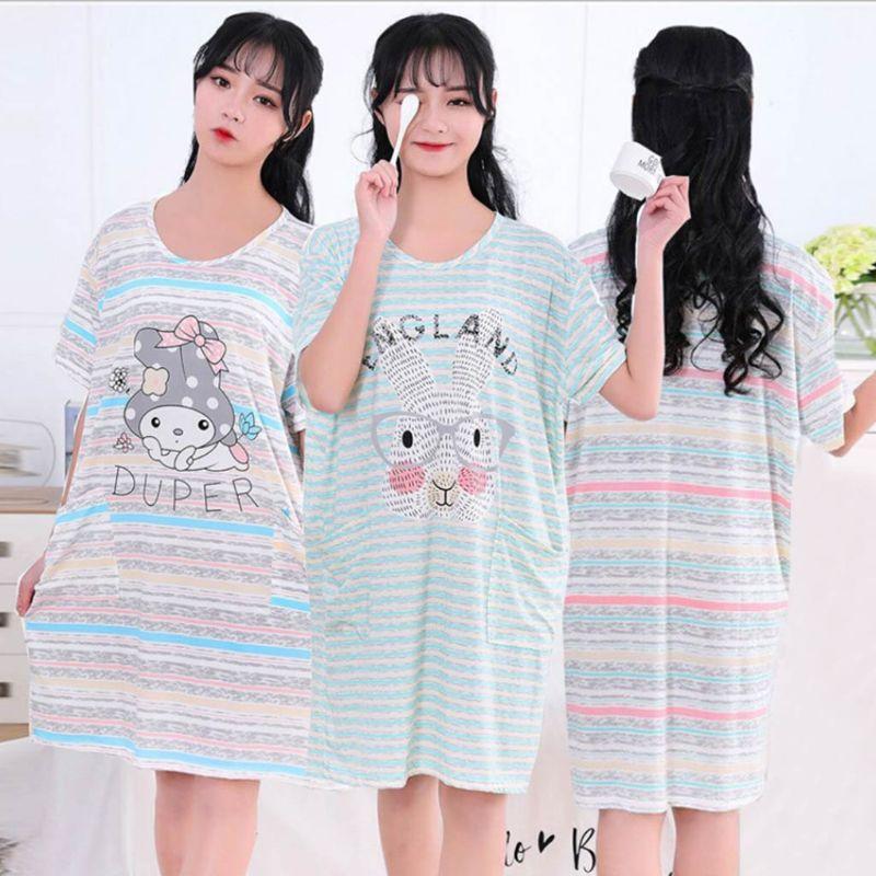 Women Girl Summer Milk Fiber Short Sleeve Nightdress Cute Cartoon Animal Printed Stripes Oversized Loose   Sleepshirt   With Pockets