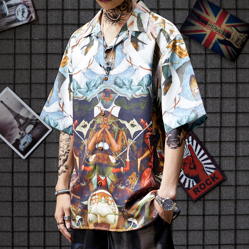 2019 summer mens shirt short sleeve v neck cotton shirts fit men tops casual male shirt printed tees