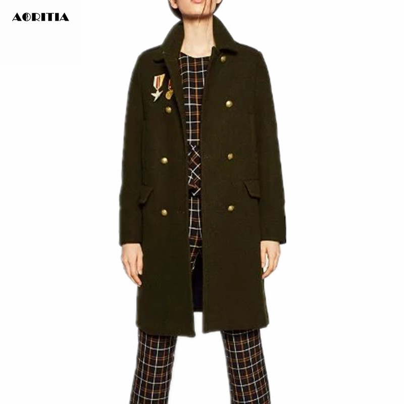 2016 Winter Women New Military Style Appliques Coat Woolen Long Jackets Fashion Pocket Army Green Blends Outerwear Wool Coats