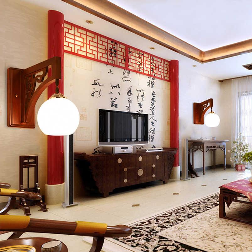 Ретро винтажный китайский настенный светильник, Гостиная прохода коридора спальни прикроватные лестницы бра для ресторана бра деревянные настенные бра