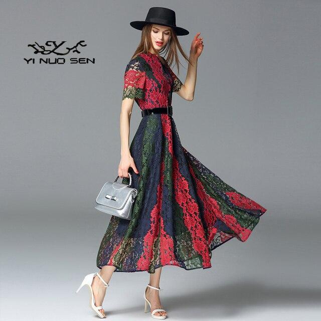 Yinuosen Herbst Neue Modelle Damenbekleidung Temperament Mode Trend Hohl  Kurzärmeliges Drei Farbe Spitzenkleid Frauen