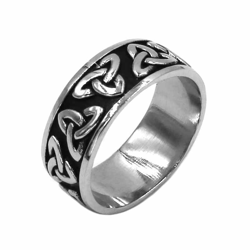 Wholesale Celtic Knot Ring Stainless Steel Jewelry Fashion Claddagh Style Motor Biker Ring Men Women Wedding Ring SWR0808A