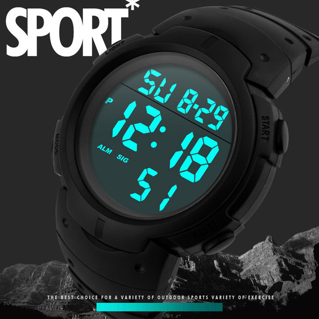 Mens Watches Fashion Water Resistant Watch Mens Boy LCD Digital Stopwatch Date Rubber Sport Wrist Watch Waterproof Relogio Clock