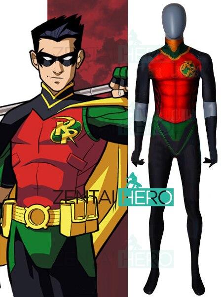 Livraison gratuite 3D imprimé renaissance rouge Robin Cosplay Costume Spandex Robin renaissance Version super-héros Halloween Costume pas de Cape